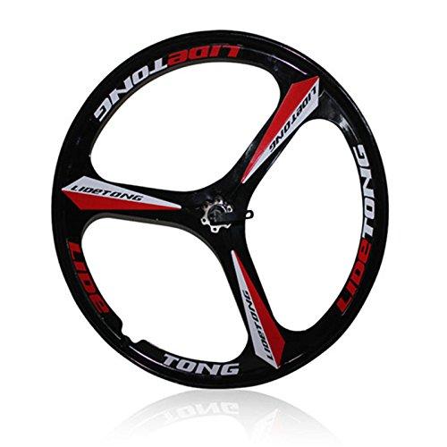 MTBリム24/26インチマウンテンバイクホイール3スポークマグネシウムアルミ合金自転車リムベアリングタイプサポートクイックリリース B07D8NWW5M 26インチ|黒赤 黒赤 26インチ