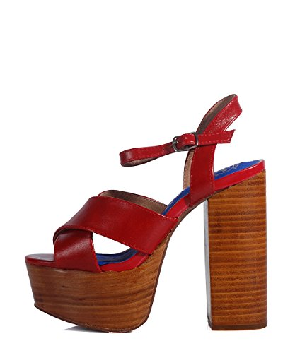 Jeffrey Campabell Geri Sandal Red-Sandalias Madera, Diseño de Piel de Tacón Rojo