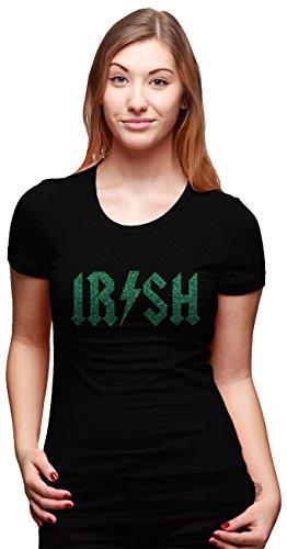 Crazy Dog TShirts - Womens Irish Rockstar GLITTER T Shirt Cute Saint Patricks Day Tee For Women - damen -