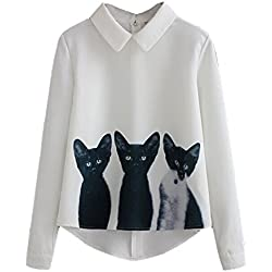 TEERFU Girls Blouses Lapel Neck Long Sleeve Blouse Shirts Tops Casual T shirt