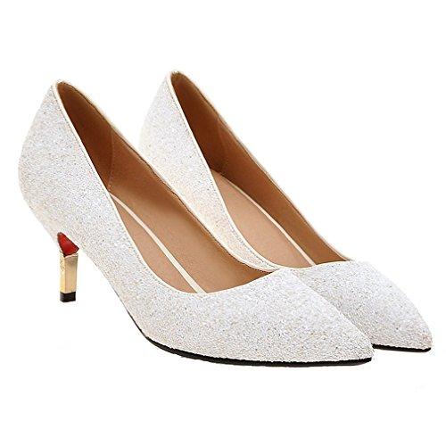 Enmayer Femmes Paillettes Bout Pointu Bas Talon Bureau Lady Chaussures Parti Robe Pompes Blanches (talon: 7cm)