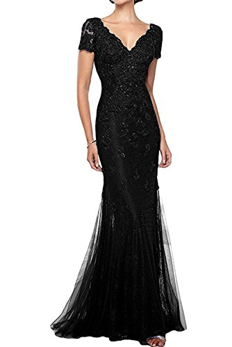 GMAR Mermaid Short Sleeves Mother of The Bride Dresses Beaded Lace Evening Gowns