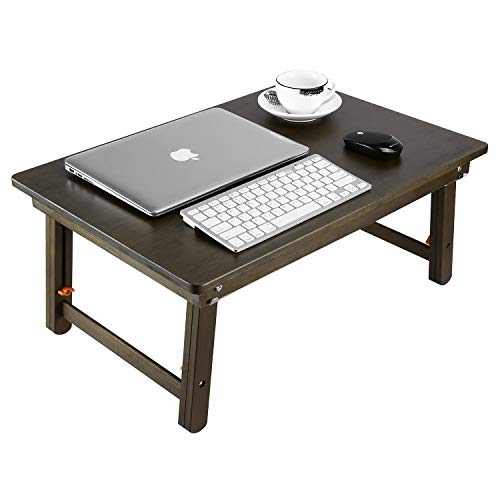 Large Size Laptop Tray Desk Nnewvante Foldable Lap Table Bed Tray, TV Tray Floor Table Bamboo Adjustable Breakfast Serving Tray Writing Gaming 4 Leg Latches Support to 18in Laptop, 25.6x17.7in-Retro