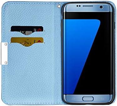 Handytasche Case H/ülle Leder Geldb/örse Tasche mit Rei/ßverschluss Kartenfach Umh/ängeband Wallet Cover Klapph/ülle f/ür Samsung Galaxy S7,Blau Vepbk Brieftasche H/ülle f/ür Samsung Galaxy S7 Handyh/ülle