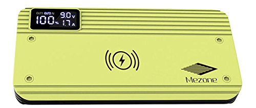10,000mAh Qi Wireless Charging Power Bank with smart digital display Yellow