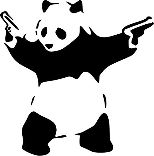 "Shooting Panda Guns Vinyl Decal Sticker- 8"" Tall Matte White"