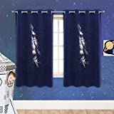 PONY DANCE Galaxy Blackout Curtain - Hollow Out Galaxy Design Laser Cutting Curtains Grommet Ring Top Drapes Home Decor for Baby Children, 52-inch Wide by 63-inch Long, Blue, 1 Piece