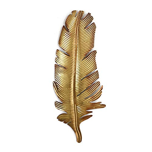 - FENFOUBA Metal Wall Art Sculpture, Wall-Mounted Golden Feather Embossed Pendant, for Indoor and Outdoor Wall Decoration, Free to Hang 3 Size (Color : 85x34x1cm)