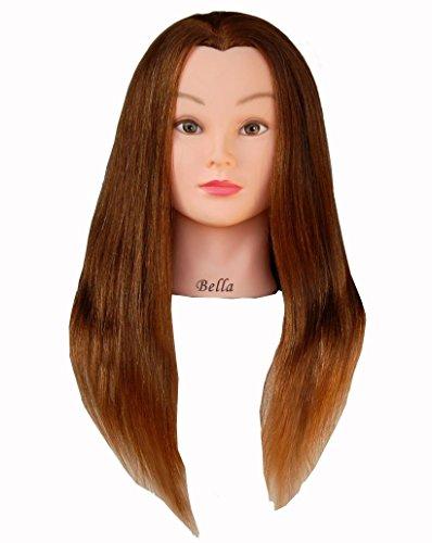 Bellrino 24 100% Human Hair Cosmetology Mannequin Manikin Training Head with Human Hair (BROWN - BELLA)