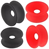 bodyjewellery 3/4 20mm Black Red Silicone Double Flare Tunnels Ear Plugs SI02 Lot ANCG Ear Stretching Stretchers bulk Piercing 4Pcs