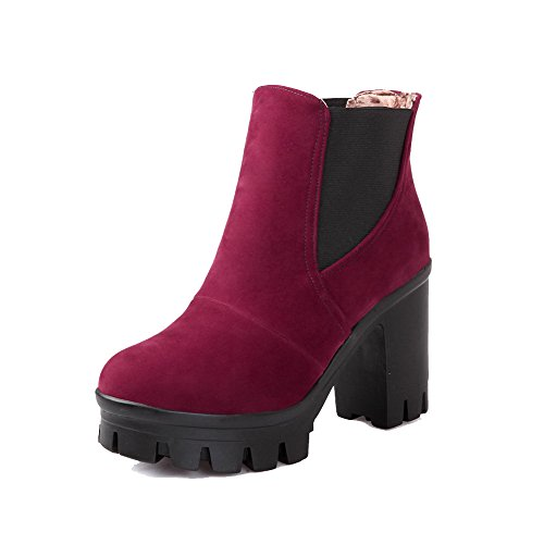 Allhqfashion Women's Round Closed Toe High-Heels Frosted Low-top Solid Boots Claret jORPQMP