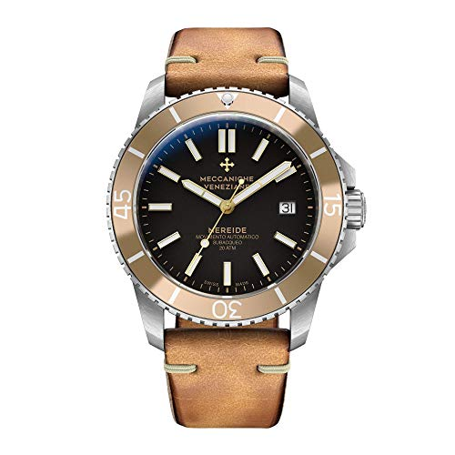 Meccaniche Veneziane Men's Automatic Mechanical Diver Watch with Vintage Leather Strap Nereide 3.0 Ardesia Black with Gold Bezel 1202006 Swiss - Swiss Incabloc