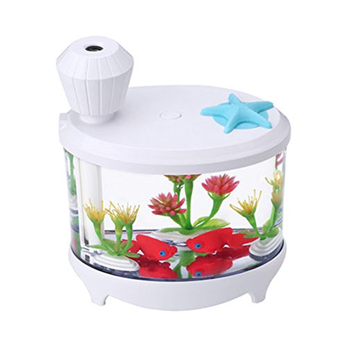 Guyay Mini USB Fish Tank Humidifier Ultrasonic Table Night Light Whisper-Quiet Operation Cool Mist Humidifier (White, One Size) by Guyay