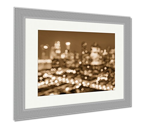 Ashley Framed Prints Bokeh Filter Of Singapore Skyline From Above During The Blue Hour Asian Modern, Wall Art Home Decoration, Sepia, 30x35 (frame size), Silver Frame, - Blue Light Filter Singapore Glasses