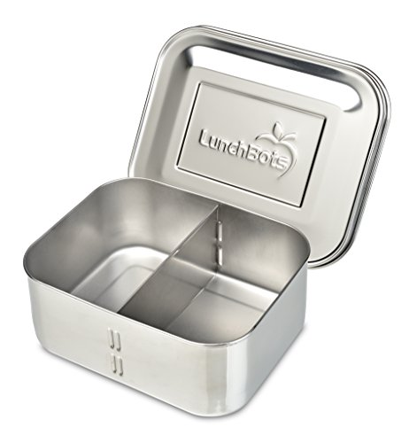 LunchBots Deep Duo Stainless Steel Food Container - Features a Removable Divider to Create 1 or 2 Sections - Great for Tall Sandwiches or Big Salads - Eco-Friendly, Dishwasher Safe and BPA-Free