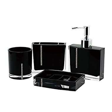 Immanuel Cristal 4-PIECE Bathroom Accessory Set with Tumbler, Toothbrush Holder, Lotion Dispenser and Soap Dish (Black)