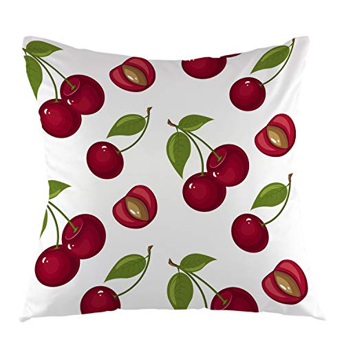 "oFloral Cherry Pillow Case Sweet Red Ripe Cherries Throw Pillow Cover Square Cushion Case for Sofa Couch Car Bedroom Living Room Decor 18"" x 18"" inch"