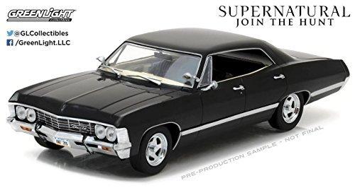 NEW 1:24 GREENLIGHT COLLECTIBLES - SUPERNATURAL - BLACK 1967 CHEVROLET IMPALA SPORT SEDAN Diecast Model Car By Greenlight