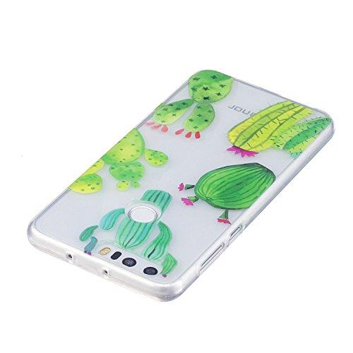Funda para Huawei Honor 8 , E-Lush Suave Silicona TPU Carcasa Ultra Delgado Cáscara Clear Flexible Gel Parachoques Goma Transparente Case Cover impresión Patrón Bumper Elegante Carcasa Trasera Amortig Cactus