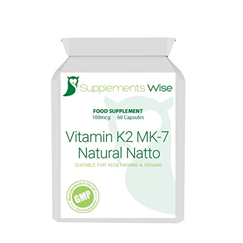 Vitamin K2 MK-7 Capsules 60 x 100mcg Natural Natto High Strength Bone Health Supplement GMP Quality Made In The UK Suitable For Vegetarians And Vegans by Supplements Wise by Supplements Wise