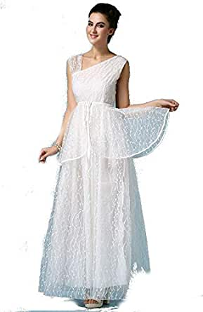 White Pattern Formal Long Women Evening Party Cocktail Bridesmaid Prom Wedding Party Casual Dress