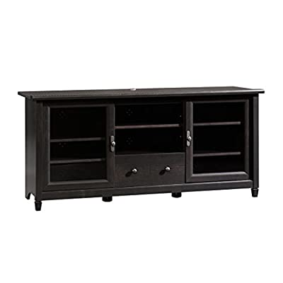 "Sauder 409048 Edge Water Entertainment Credenza, For TV's up to 55"", Estate Black finish - Accommodates up to a 55"" TV weighing 95 lbs. or less Adjustable center shelf holds audio/video equipment.Two adjustable shelves behind each framed, safety-tempered glass door. Drawer with metal runners and safety stops features patented T-lock assembly system. - tv-stands, living-room-furniture, living-room - 41I2PQ8CpsL. SS400  -"