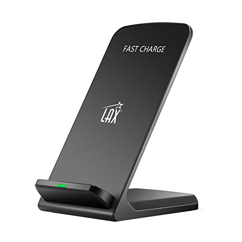 LAX Fast Qi Wireless Charger Phone Stand - Great for Face ID on iPhone X (1-Pack)