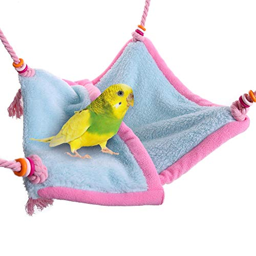 QBLEEV Bird Cage Fleece Hammock Parrot Warm Nest Hut Bed House Bedding Budgie Snuggle Swing Tent Set Sleeping Bag Birdcage Decor Accessories Habitats Toy for Small Lizard Rat Hamster Parakeets Ferret ()