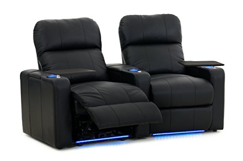 Octane Turbo XL700 Row of 2 Seats, Curved Row in Black Leather with Power Recline