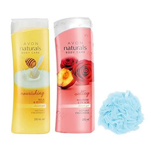 (Avon Naturals Shower Gel (Milk & Honey - Rose & Peach) + Loofah)