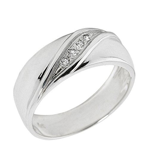 Men's 14k White Gold 4-Stone Diamond Wedding Band (Size 10.25)