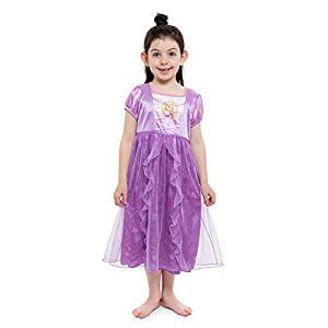 Disney Girls' Big Princess Fantasy Nightgown, Rapunzel – Purple, 8