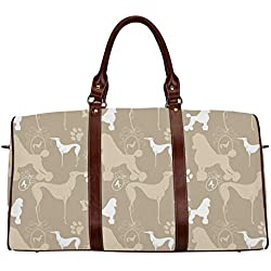 """Dog Lover Waterproof Travel Bag,Pet Animals Accessories Leash Paw Print Bone Ornamental Abstract Illustration for Travel,18.62""""L x 8.5""""W x 9.65""""H"""