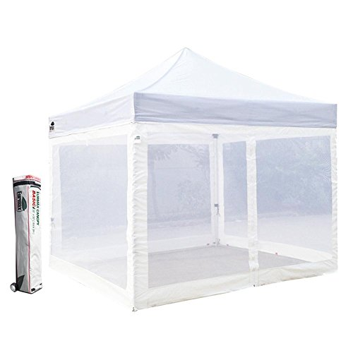 Basic 10 X 10 Ez Pop up Canopy Mesh Party Tent with 4 Screen Side Walls and Roller Bag (White)