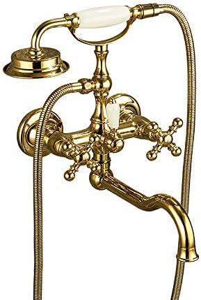 浴槽の蛇口の金のたらいの注入口セット真鍮の壁に取り付けられた多機能の二重十字のハンドルハンドヘルドシャワー、冷たいおよびお湯が付いている浴室のシャワーの混合栓