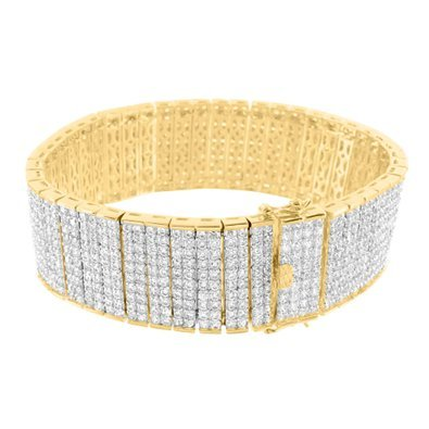Two Row Diamond Bracelet (Fashionable Unique Style 14k Gold Finish Lab Diamond Mens 8.5