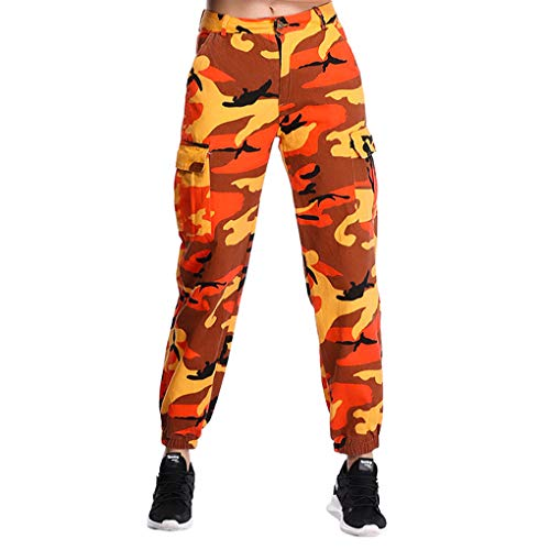 - ZODLLS Women's Camouflage Pants Cargo Trousers Cool Camo Pants High Waist Casual Multi Outdoor Jogger Pants(Orange, Small)
