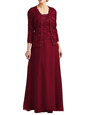 Dressyu Lace Beaded Mother of The Bride Dress Chiffon Formal Gown with Jacket