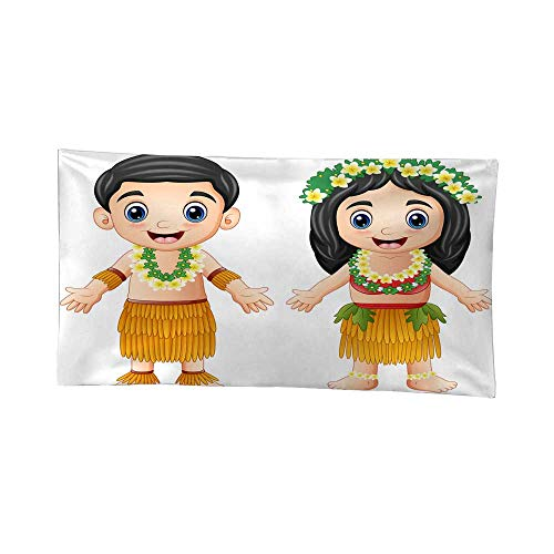 Nicely Tapestries Cartoon Hawaiian Couple Wearing Traditional Costumes