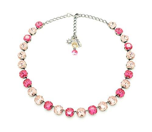(PINK ROSE PETALS 10mm Cushion Cut Necklace Made With Swarovski Elements *Antique Silver *Karnas Design Studio)