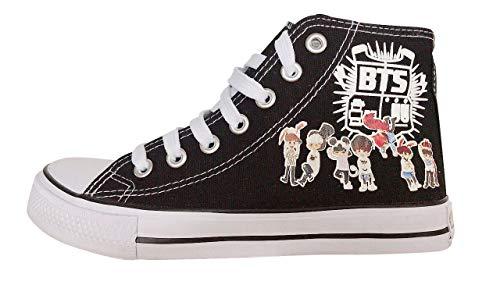 BTS Bangtan Boys Canvas Shoes Jungkook Jimin V Suga Women Casual Shoes (5, High black A)