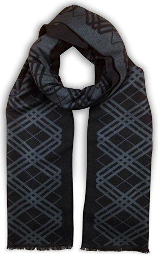 Bleu Nero Luxurious Winter Scarf for Men and Women – Large Selection of Unique Design Scarves – Super Soft Premium Cashmere Feel (Black/Blue-Grey Diagonal Plaid + Border) (Border Unique Blue)
