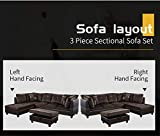Ainehome 3 PCS Living Room Set, Sectional Sofa Set, Sectional Sofa in Home, with Storage Ottoman and Matching Pillows