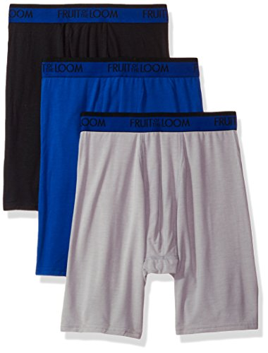Fruit of the Loom Men's 3-Pack Premium Cool Blend Long Leg Boxer Brief, Assorted, X-Large (Fruit Of The Loom Long Leg Boxer Briefs)