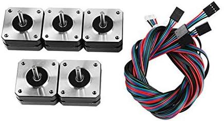 LWQJP 3Dプリンターパート3Dプリンター付属品のための5個のケーブルと42 * 42 * 23ミリメートルステッピングモータ