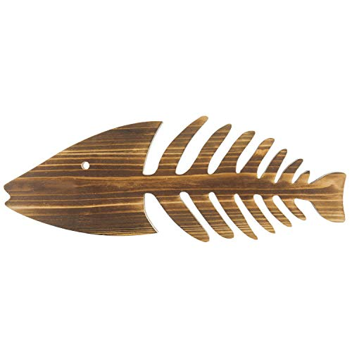 MyGift 14-inch Burnt Wood Wall-Hanging Fish Skeleton ()