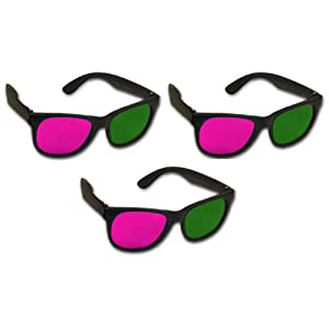 3D Glasses for Journey to the Center of the Earth 3D - Acrylic (3 Pair) Magenta & Green