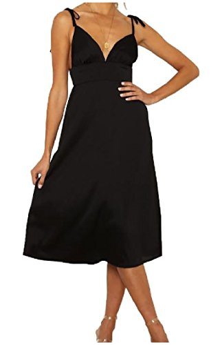 Coolred Strap Cut Back Women Black V Spaghetti Waist Dress High Out Loose Neck fvrwOqfH