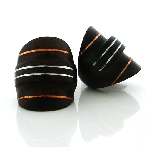 (Handcarved, Organic Sono Wood Half-Knuckle Ring with Center Edge and Copper and Silver Stripe Inlay (9))