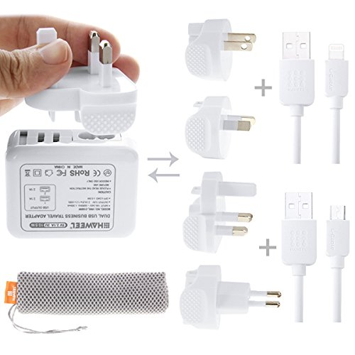 Apple Ibook Dual Usb (HAWEEL USB Travel Wall Charger US/UK/EU/AU Plugs + 2.1A Dual USB Port + 8 Pin MFI Lightning USB Cable + Micro USB Cable + Mesh Bag for Apple iPhone Samsung LG Xiaomi HTC Huawei and more.)